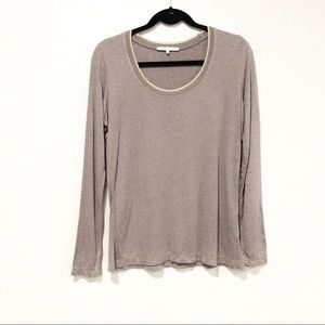 Gerard Darel Sparkly Scoop Neck Long  Sleeve Teee